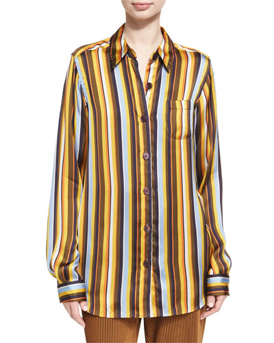 Buse Striped Long-Sleeve Boyfriend Shirt, Brown Pattern