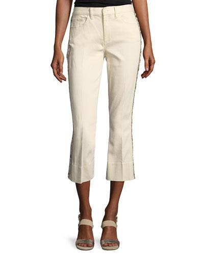 Sandy Super-Cropped Embellished Boot Jeans