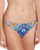 Woodstock Charmer Hipster Swim Bottoms, Blue-Multi