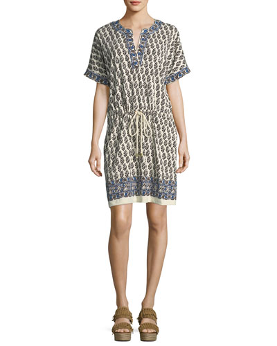 Amara Short-Sleeve Graphic-Print Cotton Dress