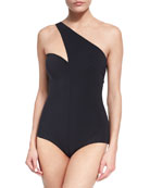 Sunniva One-Shoulder One-Piece Swimsuit, Black