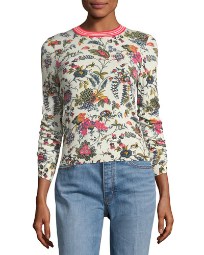 Noelle Floral-Printed Crewneck Sweater