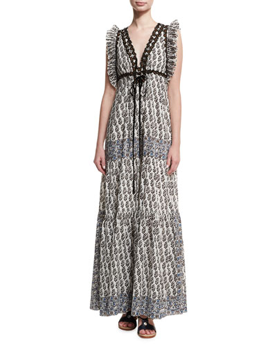 Amita V-Neck Sleeveless Maxi Dress W/ Ruffled Trim