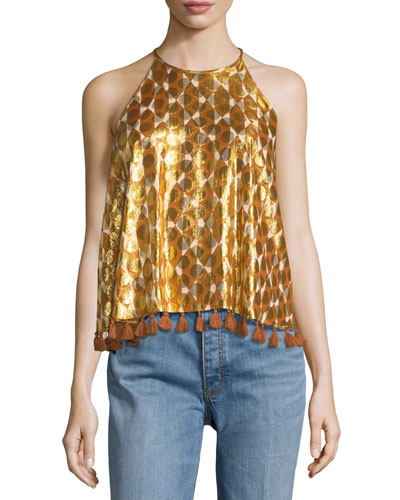 Danielle Sleeveless Metallic Tile-Printed Top W/ Pompom Hem