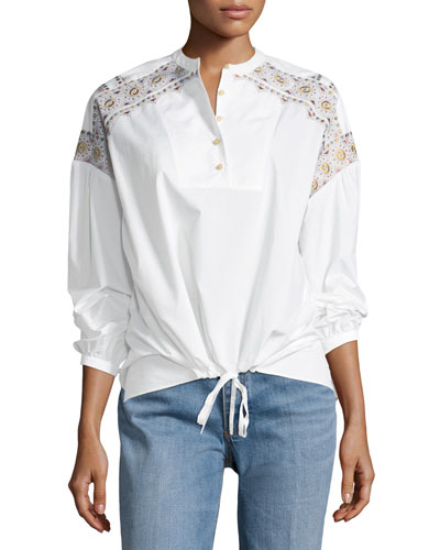 Jayne Long-Sleeve Embroidered Peasant Top