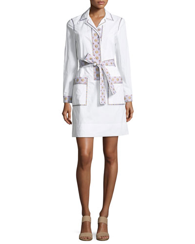 Jayne Long-Sleeve Embroidered Belted Tunic Dress