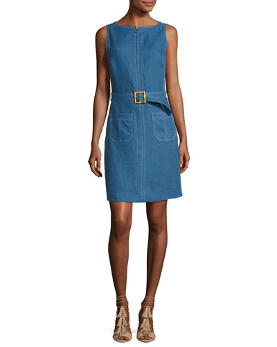 Nadia Sleeveless Zip-Front Belted Linen Dress, Indigo