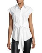 Collared Tie-Front Poplin Shirt, White