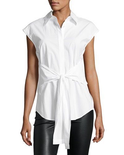 Collared Tie-Front Poplin Shirt, White