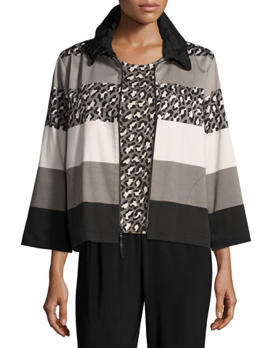 Stone Age Striped Jacket, Plus Size