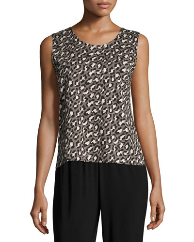 Animal-Print Knit Tank, Multi Black, Petite