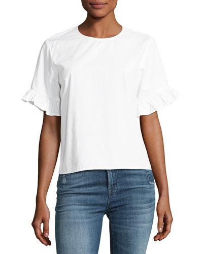 Laraine Short-Sleeve Ruffle Top, White