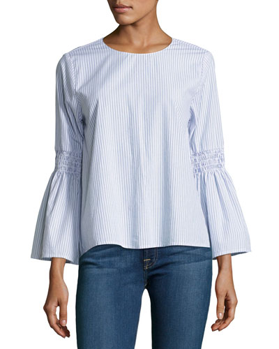 Bev Bell-Sleeve Striped Poplin Top, Blue Multi