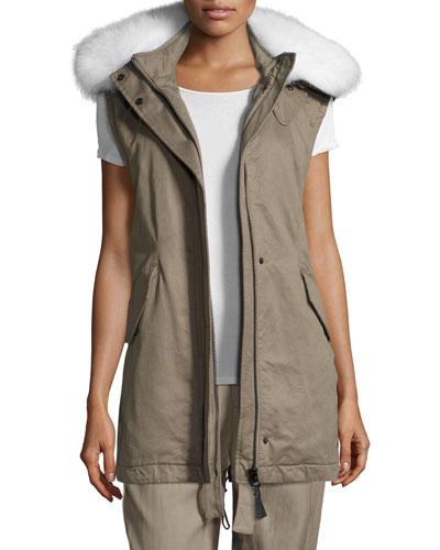 Utility Cotton Vest w/ Fur Hood, Sage