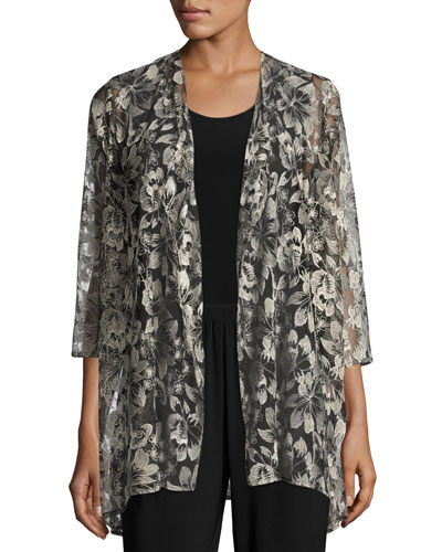 Embroidered Mesh Draped Jacket, Plus Size