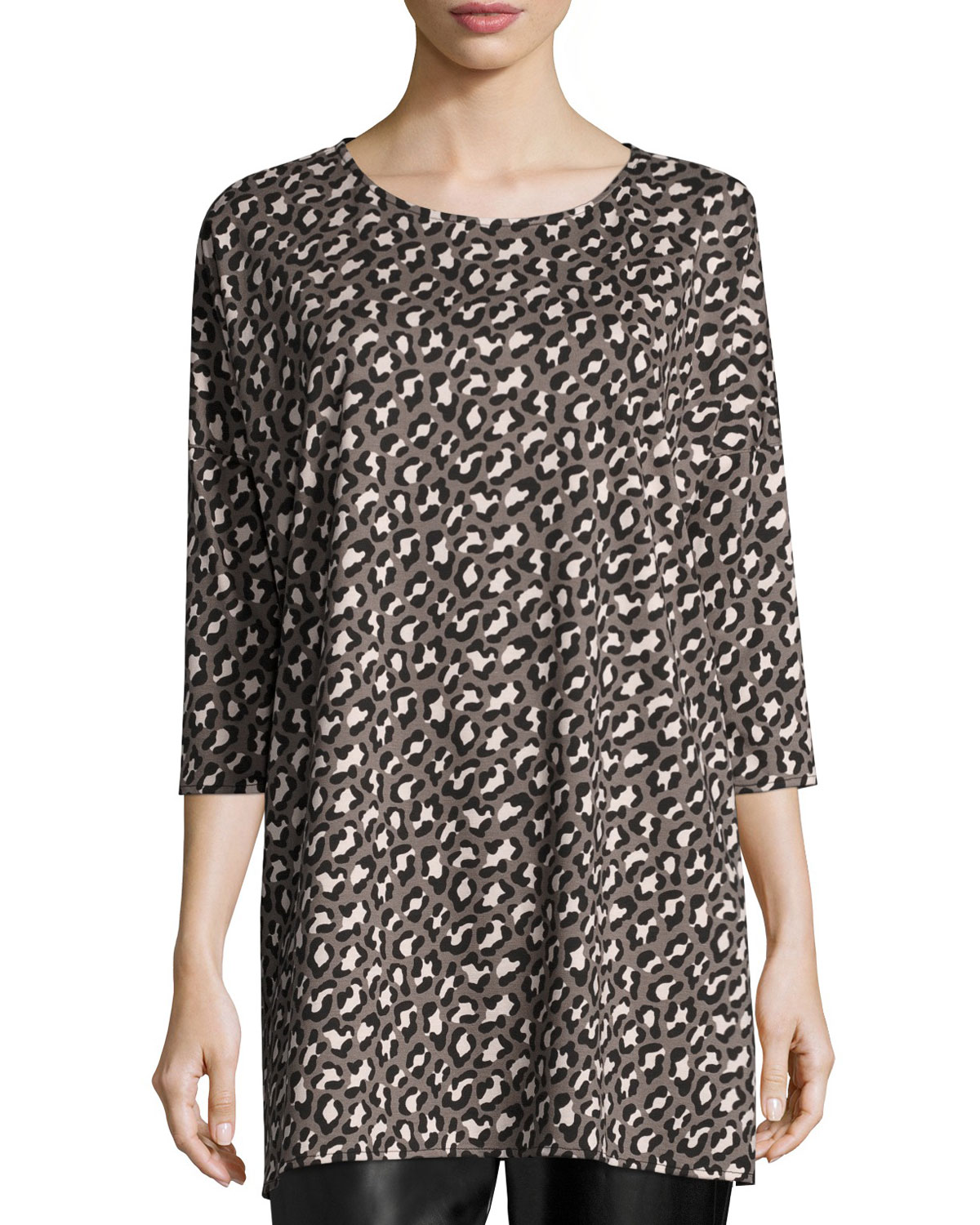 Animal-Print Half-Sleeve Easy Tunic, Petite