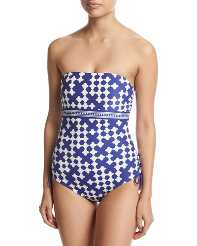 tile-print bandeau one-piece swimsuit, blue