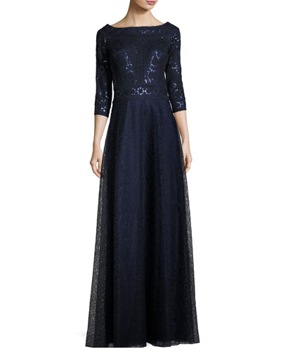 3/4-Sleeve Pintucked Floral Lace Gown, Navy