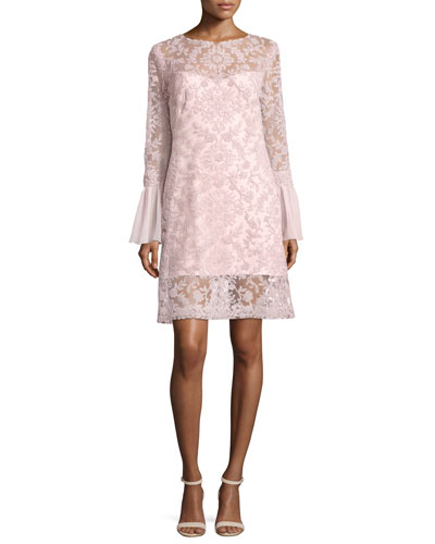 Long-Sleeve Embroidered Overlay Cocktail Dress, Rosetta