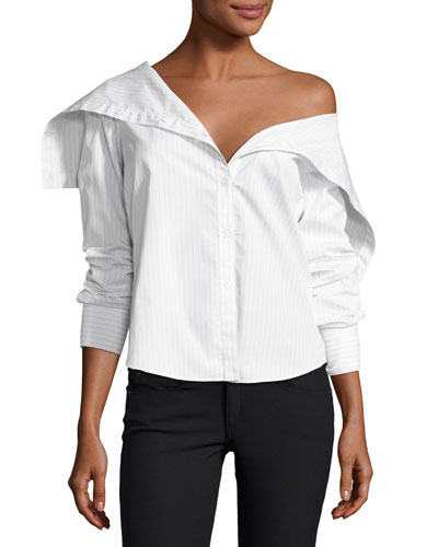Doherty Porter Stripe Poplin Top, White