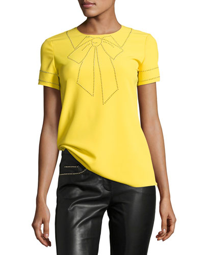 Short-Sleeve Studded Bow Illusion Blouse
