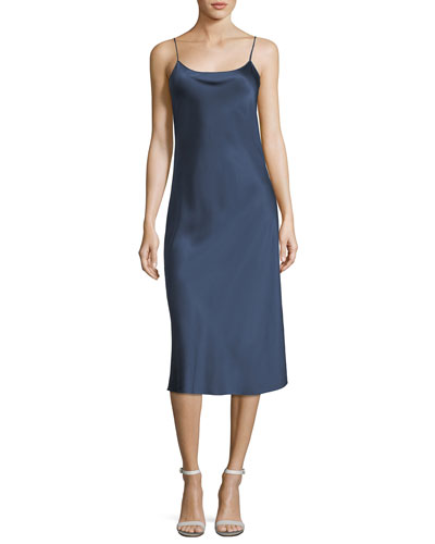 Telson Square-Neck Straight Satin Slip Dress