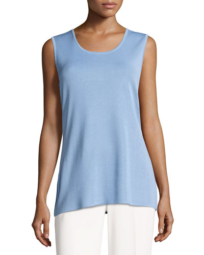 Round-Neck Soft Tank, Blue Opal, Plus Size