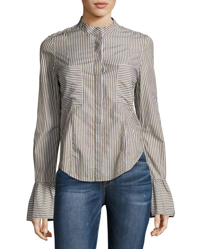 Fitted Striped Poplin Top, Green Pattern
