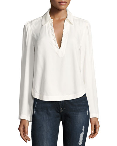 Whipstitch V-Neck Blouse Top, Off White