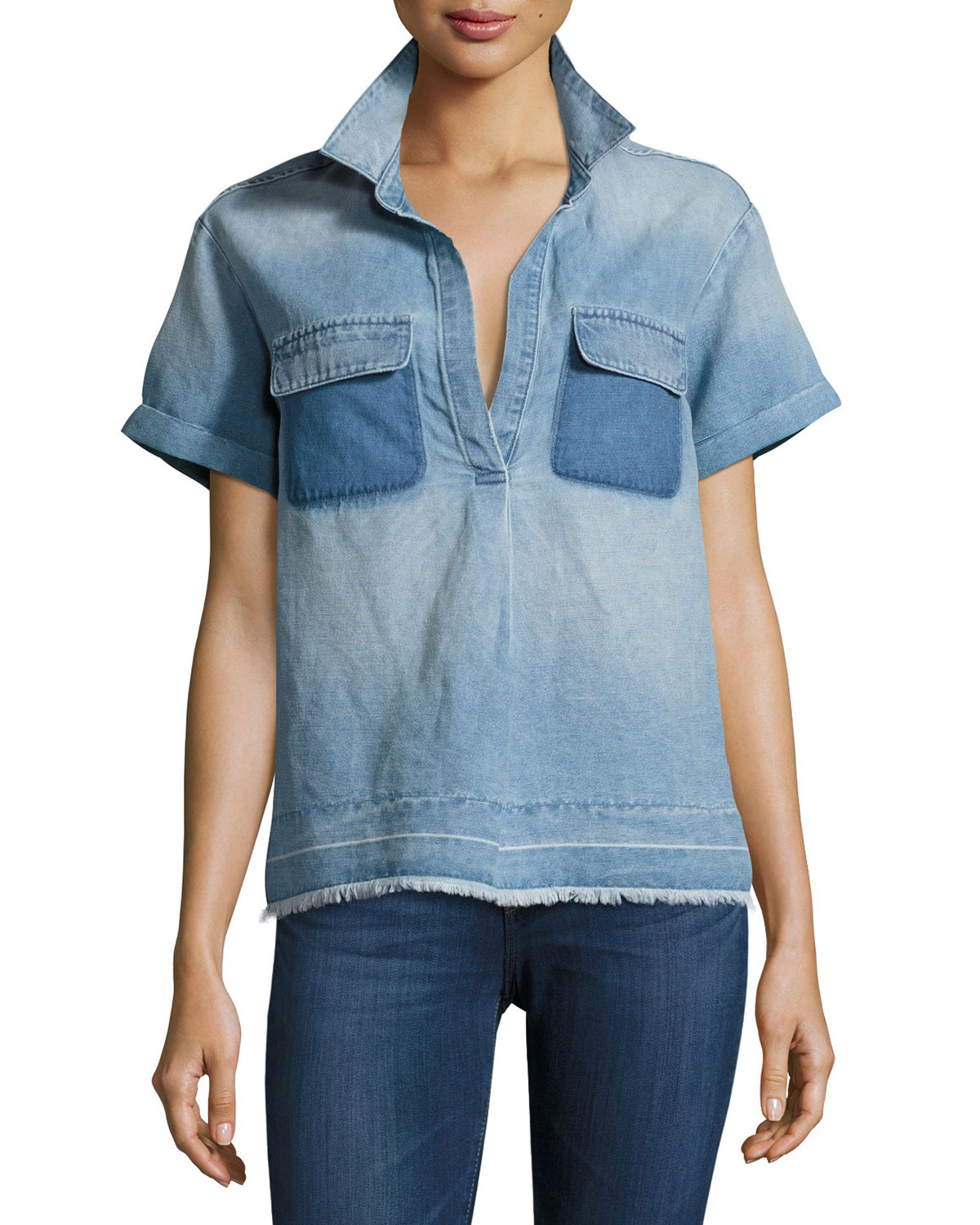 Peter Collared Patched Denim Top