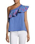 Esme One-Shoulder Embroidered Top, Blue