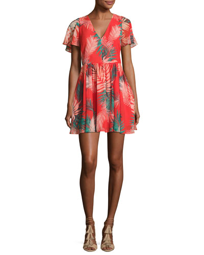 Crosby Tropical Palm Mini Dress, Red