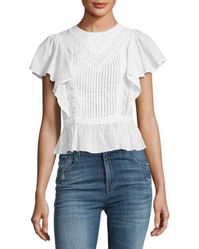 Malibu Pinstripe Cotton Top, Multi