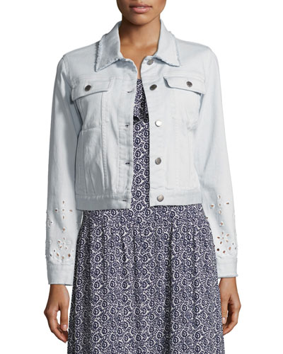 Verona Denim Jacket W/ Eyelet Trim