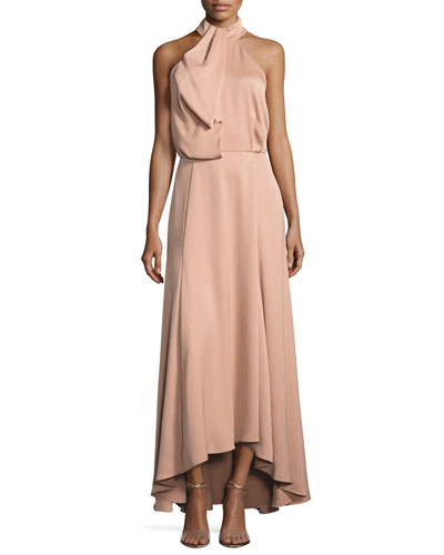 Senna Sleeveless Draped Satin Gown, Petal