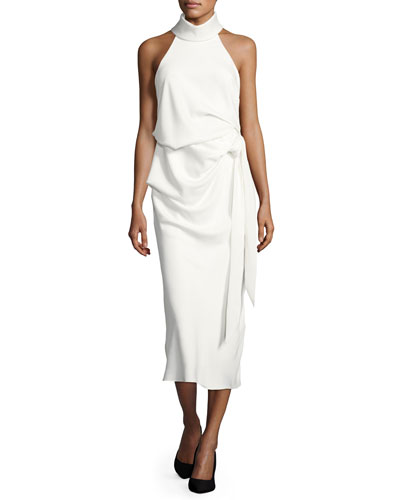 Foxglove Sleeveless Draped Cocktail Dress, White