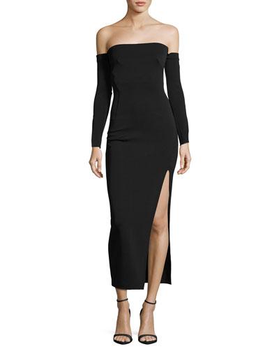 Twiggy Off-the-Shoulder Midi Cocktail Dress, Black