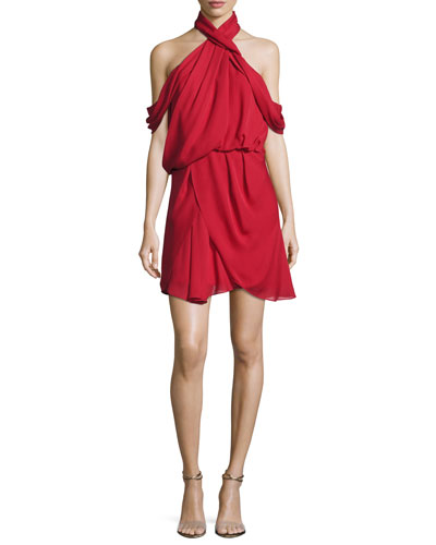 Lou Lou Draped Cold-Shoulder Cocktail Dress, Mid Red
