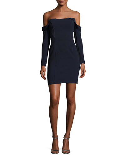 Munroe Ponte Off-the-Shoulder Mini Cocktail Dress, Dark Blue