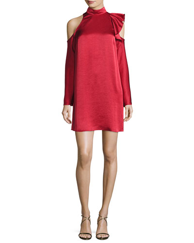 Fairlite Cold-Shoulder Shift Cocktail Dress, Mid Red
