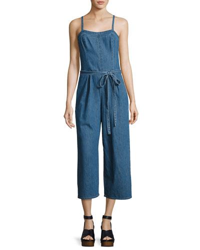 Giesele Wide-Leg Denim Jumpsuit, Blue