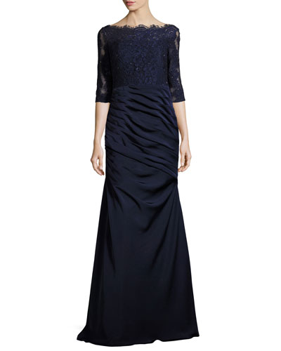 3/4-Sleeve Lace & Jersey Gown, Navy