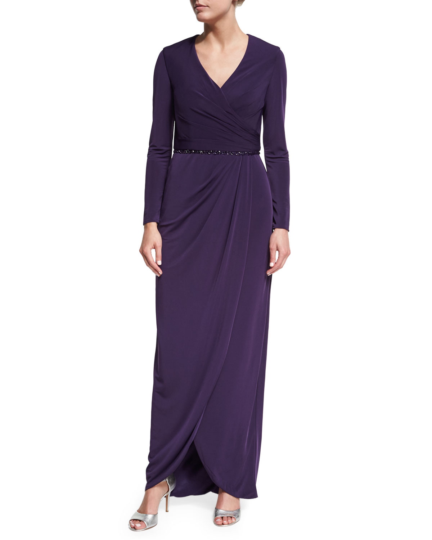 Long-Sleeve Beaded Jersey Faux-Wrap Dress, Plum