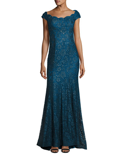 Cap-Sleeve Sequin Lace Evening Gown, Dark Teal