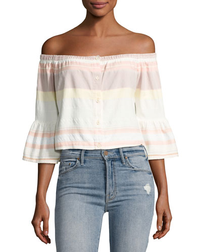 Belle Striped Off-the-Shoulder Crop Top