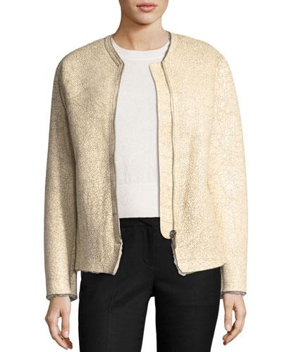Izy Zip-Front Cracked Lambskin Jacket