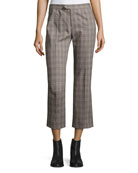 Nerys Plaid Crop Pants, Gray