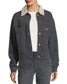 Cassy Button-Front Long-Sleeve Denim Jacket with Detailed Back