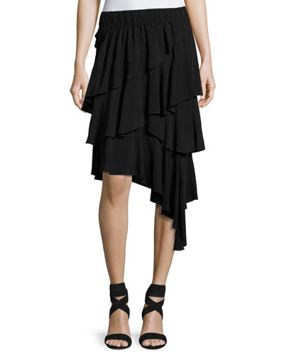 Weez Asymmetric Layered Skirt, Black