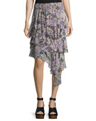 Jeezon Floral-Knit Cotton Skirt